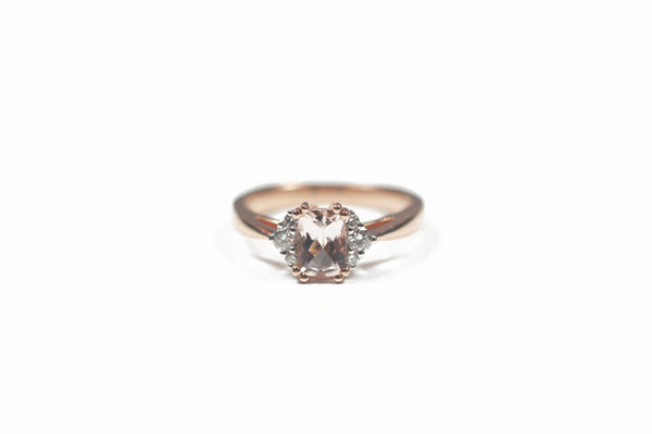 Rose Gold Cushion Cut Morganite Ring With Diamonds