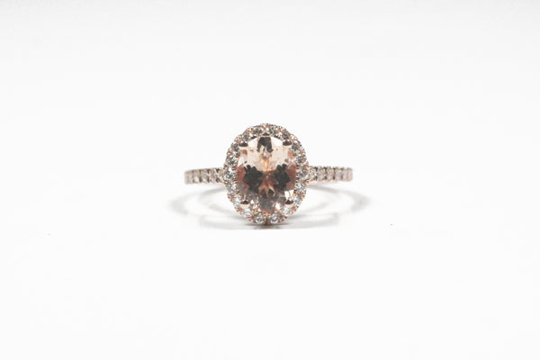 Rose Gold Oval Morganite Ring with Diamond Halo
