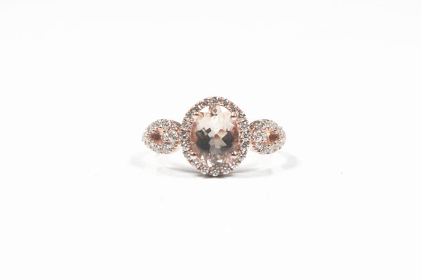 Rose Gold Oval Morganite and Diamond Halo Engagement Ring