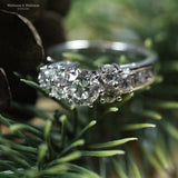 White Gold Diamond Cluster Engagement Ring