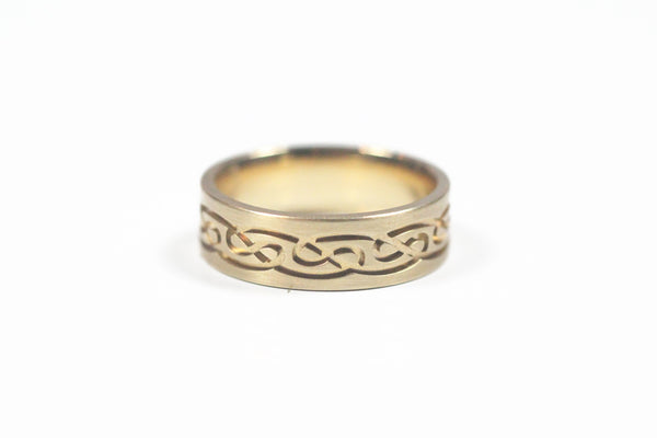 Yellow Gold Engraved Celtic Knot Ring