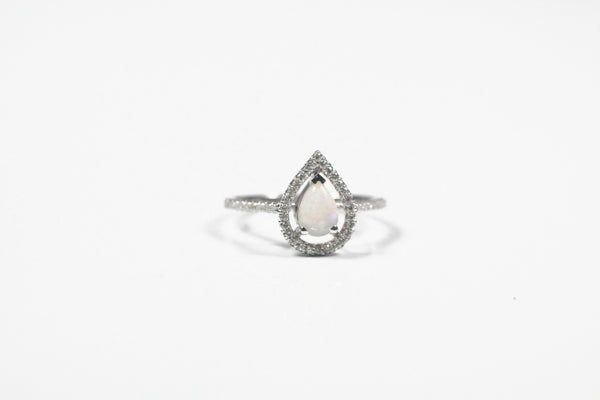 White Gold Pear Shaped Opal Ring with Diamond Halo