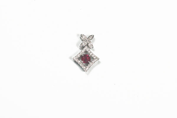 White Gold Cushion Cut Ruby and Diamond Pendant