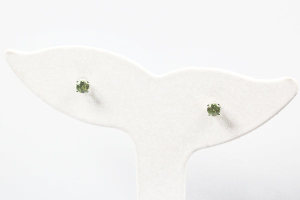 White Gold Peridot Birthstone Earrings