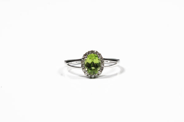 White Gold Peridot and Diamond Halo Ring with Split Shank