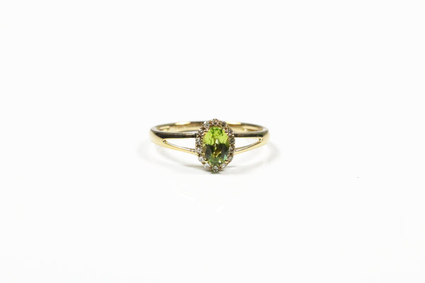 Yellow Gold Peridot and Diamond Halo Ring with Split Shank