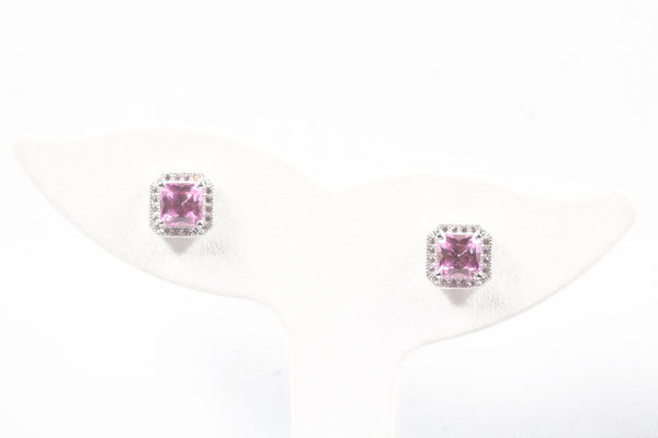 Sterling Silver Princess Cut Halo Earrings with Lab Grown Pink Sapphire