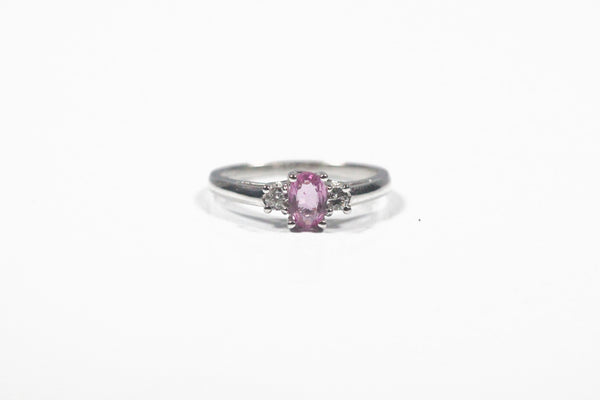 White Gold Pink Sapphire and Diamond Three Stone Ring
