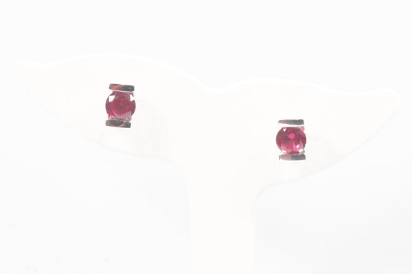 Sterling Silver Earrings with Bright Pink Topaz
