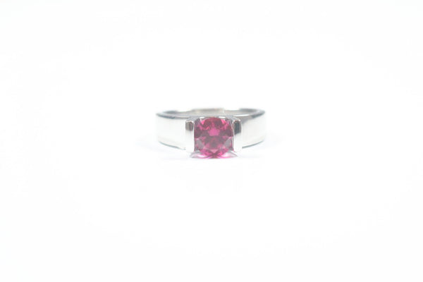 Frank Reubel Sterling Silver and Pink Topaz Tension Set Ring