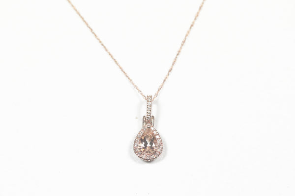 Rose Gold Pear Shaped Morganite with Diamond Halo and Chain