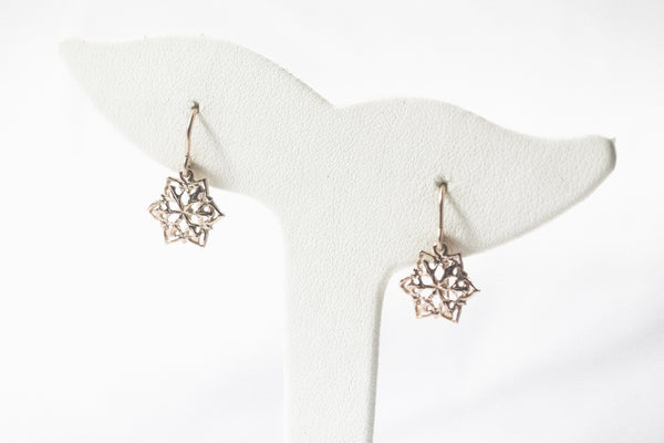 Rose Gold Snowflake Dangle Earrings