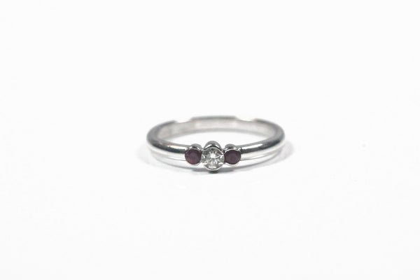 White Gold Ruby and Diamond Bezel Set Ring