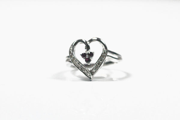 White Gold Heart Ring with Rubies and Diamonds