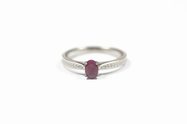 White Gold Oval Ruby Ring with Leaf Design Band