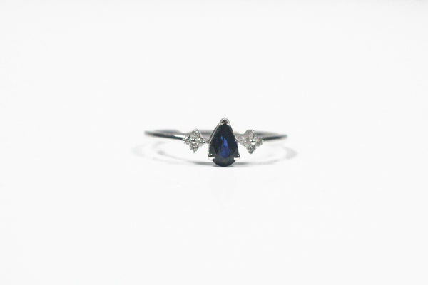 White Gold Pear Shaped Sapphire Ring with Diamonds