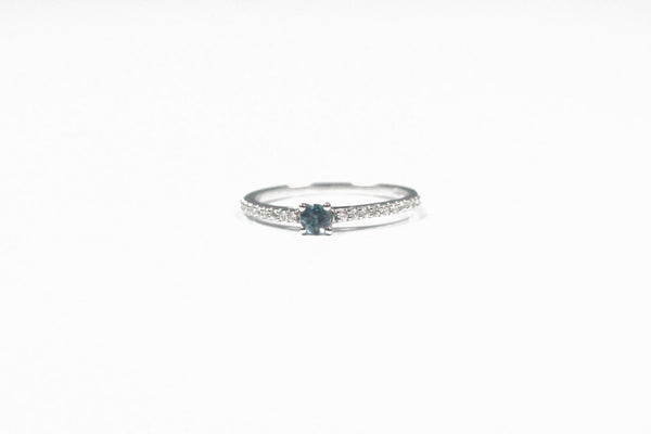 White Gold London Blue Topaz Ring with Diamonds