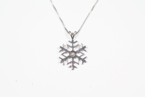 Sterling Silver Snowflake Diamond Pendant with Chain