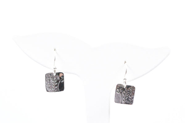 Sterling Silver Floral Engraved Earrings