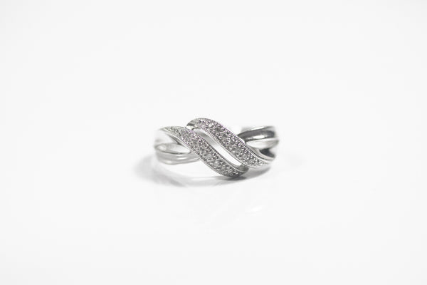Sterling Silver Double Swirl Ring with Diamonds