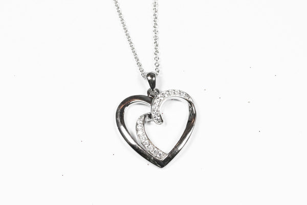 Sterling Silver Double Heart Cubic Zirconia Pendant with Chain