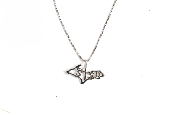 Sterling Silver SISU Upper Peninsula Pendant with Chain