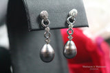 White Gold Earrings with Diamonds and Tahitian Pearls