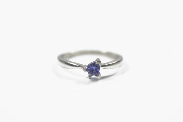 White Gold Ring with Trillion Cut Tanzanite