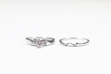 White Gold Three Stone Engagement Ring with Matching Shadow Band