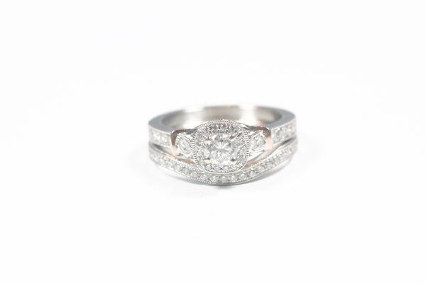 Two Tone Halo Engagement Ring with Matching Band