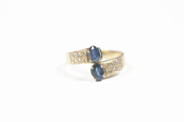 Yellow Gold Two Stone Ring with Sapphires