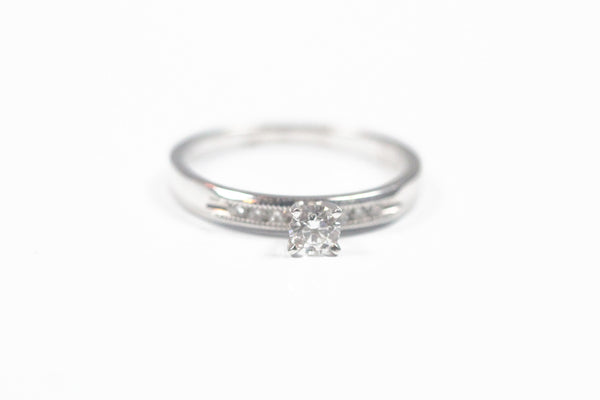 White Gold Engagement Ring with Round Center and Beaded Edges