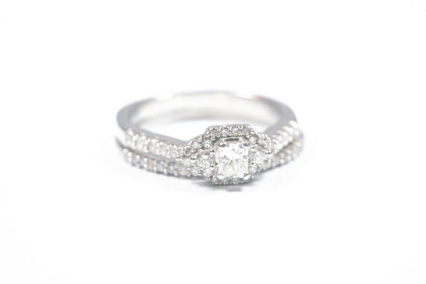 White Gold Three Stone Engagement Ring with Wedding Band