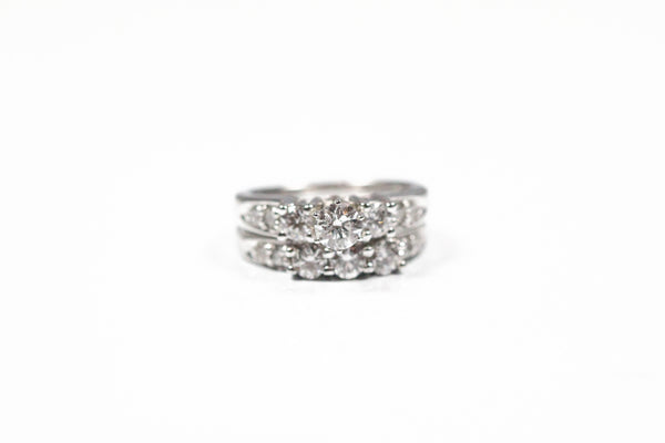 White Gold Three Stone Wedding Set