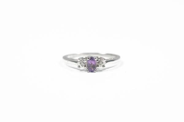 White Gold Amethyst Birthstone Ring with Diamonds