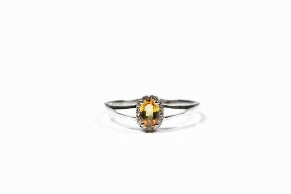 White Gold Yellow Sapphire and Diamond Halo Ring with Split Shank