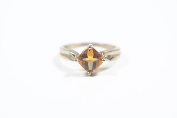 Yellow Gold Ring with Cushion Cut Citrine