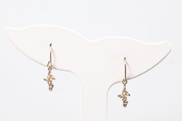 Yellow Gold Nugget UP Dangle Earrings