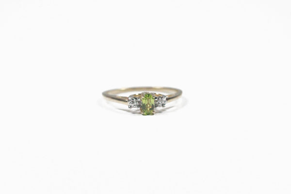 Yellow Gold Peridot and Diamond Ring
