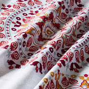 Lifestyle Marketplace Crimson Mandala Duvet Cover Set Fabric Closeup
