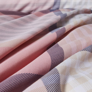 Lifestyle Marketplace Pretty Plaid Duvet Cover Set Fabric Closeup