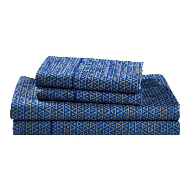 Dreamstate Navy and Gray Geometric Printed Sheet Set