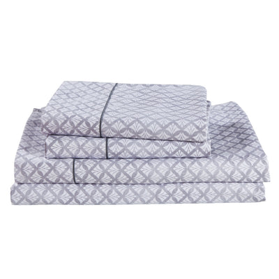 Dreamstate Printed Sheet Set - Gray and White Geometric Shell Pattern