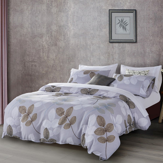 Lifestyle Marketplace Neutral Leaf 3-Piece Duvet Cover Set