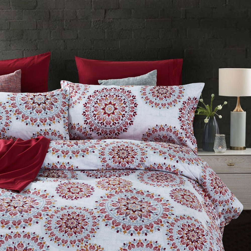 Dreamstate® Crimson Mandala 3-Piece Duvet Cover Set