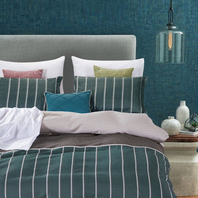 Lifestyle Marketplace Pin-Me Green 3-Piece Duvet Cover Set