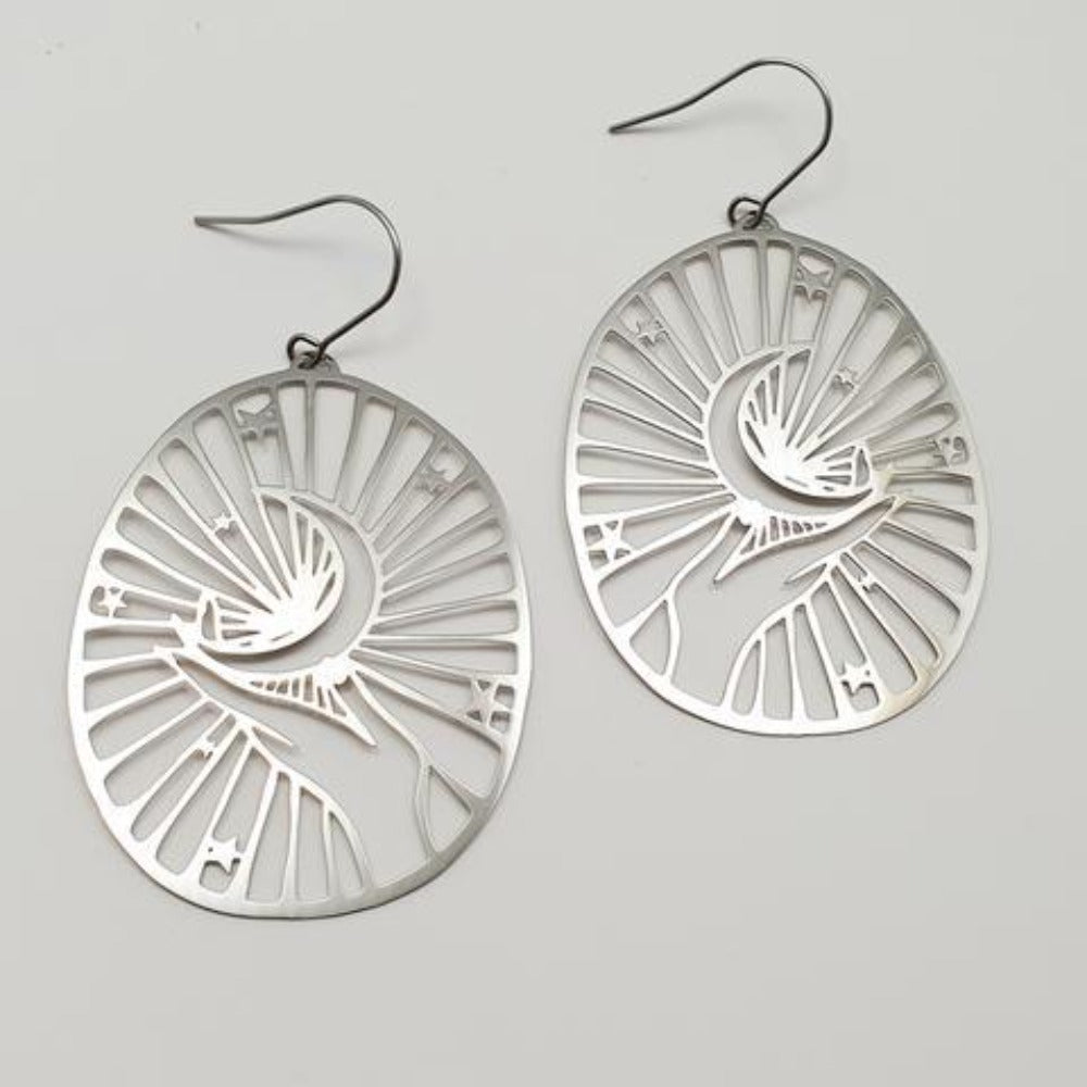 Crescent Moon Hand Earrings