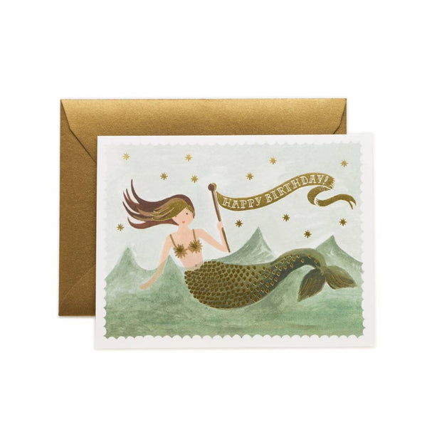 Greeting Card - Vintage Mermaid Birthday - Oxley and Moss