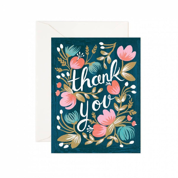 Greeting Card - Midnight Garden Thank You - Oxley and Moss