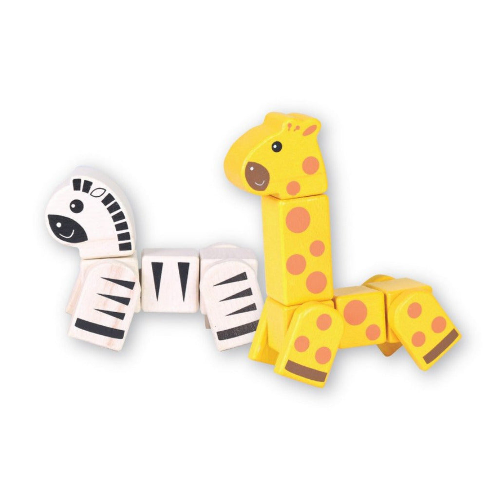 Discoveroo Snap Blocks Giraffe Zebra - Oxley and Moss